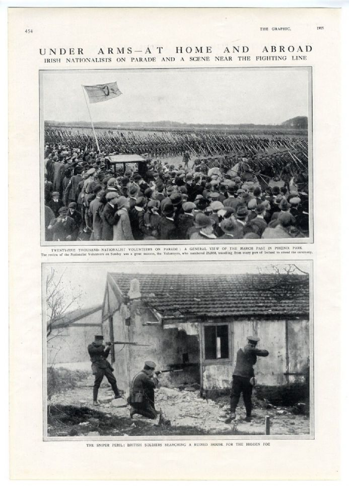 1915 WW1 Print IRISH NATIONALISTS Phoenix Dublin TOUSSOUM Turkish Attack SNIPERS